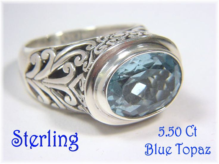 Sterling Silver - 5 .50 Ct Tropical Blue Topaz Celtic Filigree Chunky Ring - Size 7 - The Perfect Gift - Gift Box - Birthday - FREE SHIPPING by FindMeTreasures on Etsy