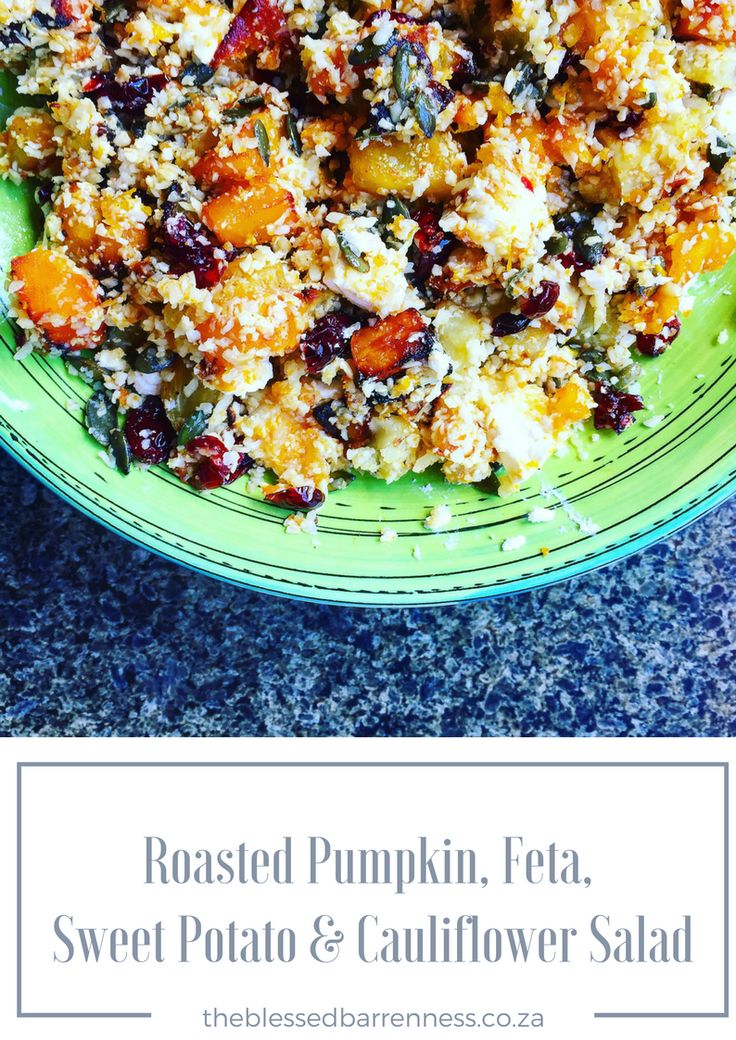 The most delicious roasted pumpkin, sweet potato, feta and cauli rice salad. Perfect for low carbers and banters!