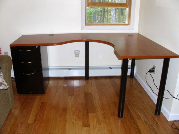 example of L curved desk with drawers