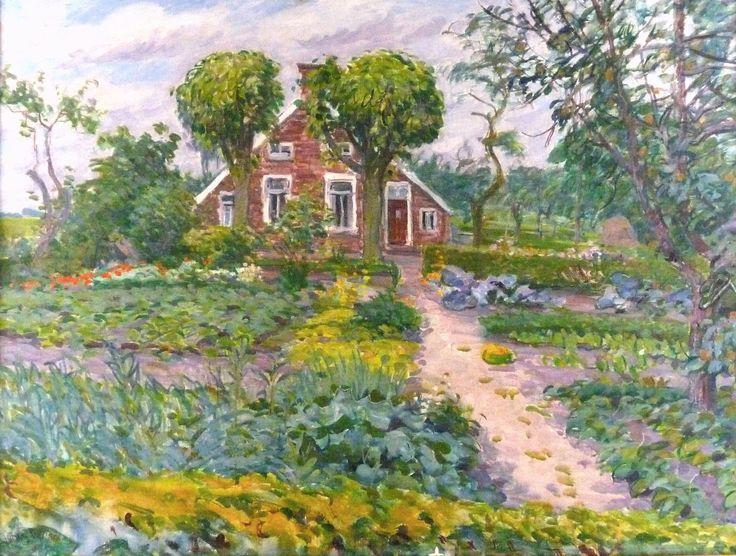Collectie Kunstkring De Ploeg: Johan Dijkstra Sandjer huus, Rhederbrug, z.j., 80 x 60 cm, olieverf
