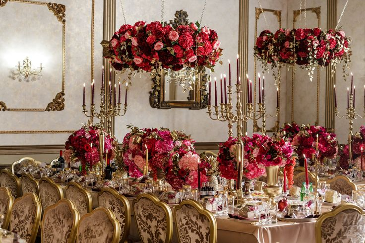 Luxurious Dolce & Gabbana Wedding wedding design centerpeice hanging decor flowers pink & red gold #beautiful