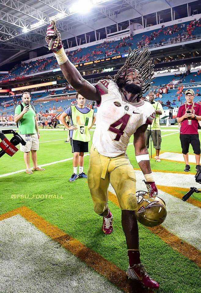 "Dalvin Cook collects from the University of Miami as FSU's ""Sod Captain"" of 2016.  Go Noles!"