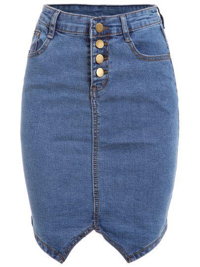 Buttoned Fly Denim Pencil Skirt