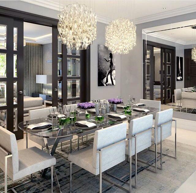 VERY ELEGANT WHITE DINING ROOM | Super Elegant white dining room | bocadolobo.com/ #diningroomdecorideas #moderndiningrooms