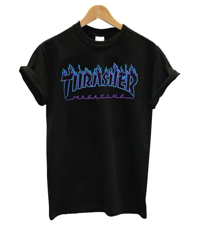 4df9a0237e4e Thrasher Blue flame black T shirt