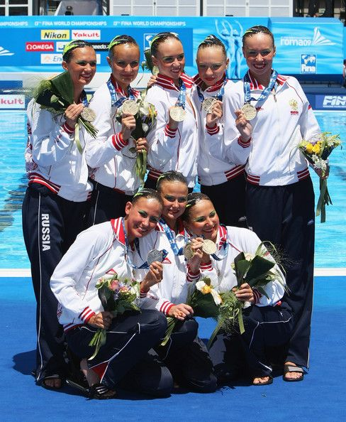 Team Russia celebrate winning Gold after the Womens Synchronised Swimming Team Technical Final at the Stadio del Nuoto Sincronizzato on July 19, 2009 in Rome, Italy.
