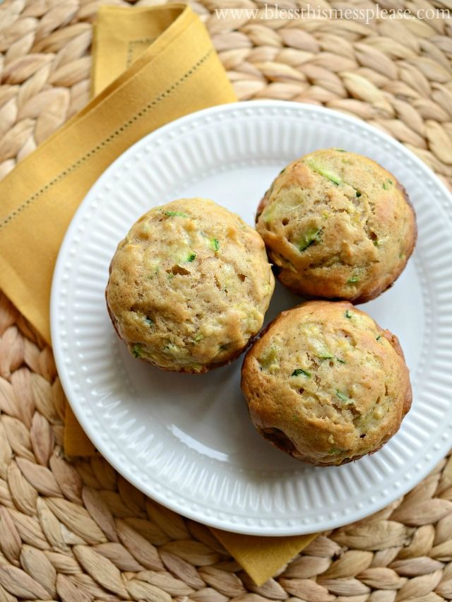 Amazing recipe - Zucchini Pineapple Muffins. I used whole wheat flour and then 1/2 tsp baking powder. And a cup vegetable oil instead of applesauce. Super good.