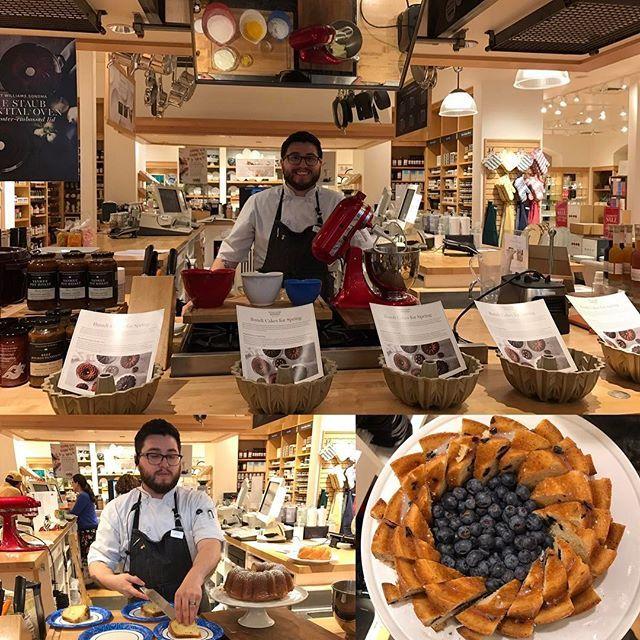Classic spring desserts done in fun ways! Lavendar-lemon & blueberry bundt cakes are a great easter treat! #wsdelmontecenter #williamssonoma #delmontecenter #ediblemontereybay #dessert #bundtcake #bundtpans #blueberries #lemon #lavender #funatwork #chefmatt #finalhoursofchefmatt #easter #dessertideas #yum #love #seemonterey #montereybay #cooking #sundayclasses #techniqueclass #montereylocals - posted by Williams Sonoma Del Monte Ctr https://www.instagram.com/wsdelmontecenter. See more of…