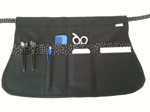 Tablier noir styliste poches noir Polka Dot tablier par mizzeztee / tablier à pochettes