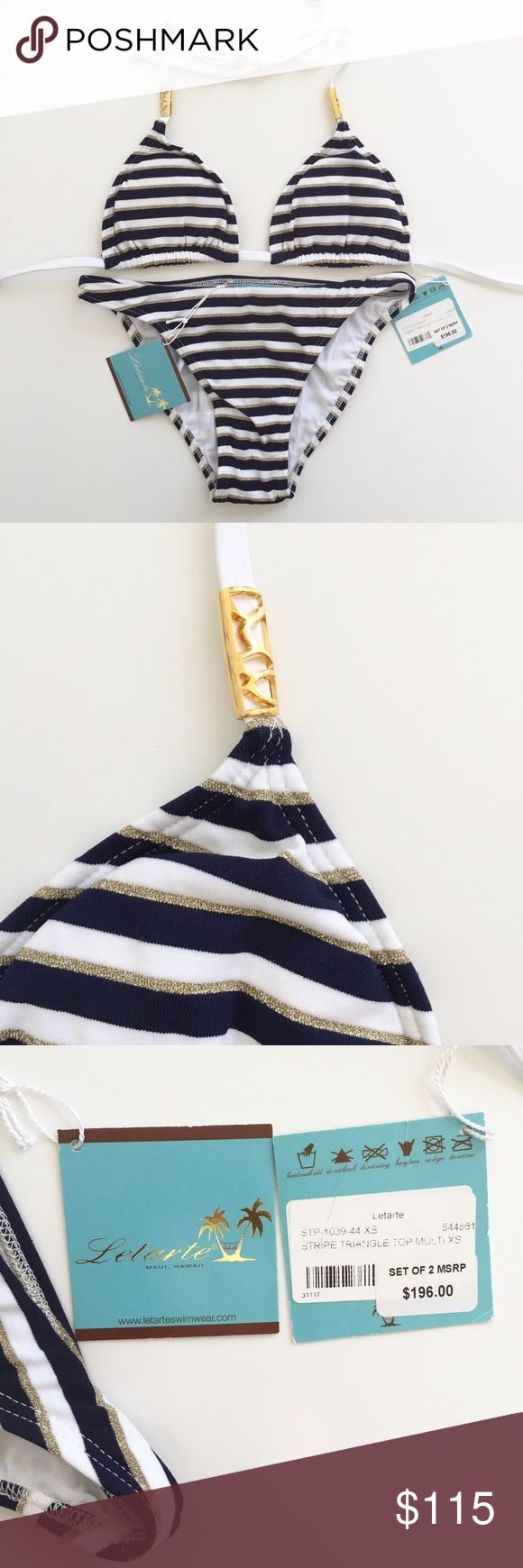 NWT Letarte Nautical Striped Bikini This printed bikini by Letarte Swimwear is perfect for any beach or pool day!   - Classic nautical navy, white, and metallic gold stripes - Triangle cut top features gold toned metal embellishment on each strap that slides and is movable to the end of the string if desired - Bottom provides moderate coverage - Brand new with tags still attached, no flaws  - Hygienic liner is still attached to the bikini bottom  ✅ Bundles ❌ Trades / Swaps / Modeling / Holds…