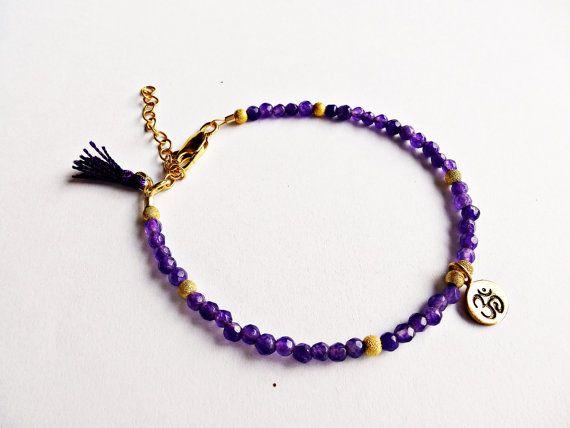 Yoga bracelet, Om, Chakra bracelet, purple bracelet, Amethyst, gold Om, tassel bracelet.