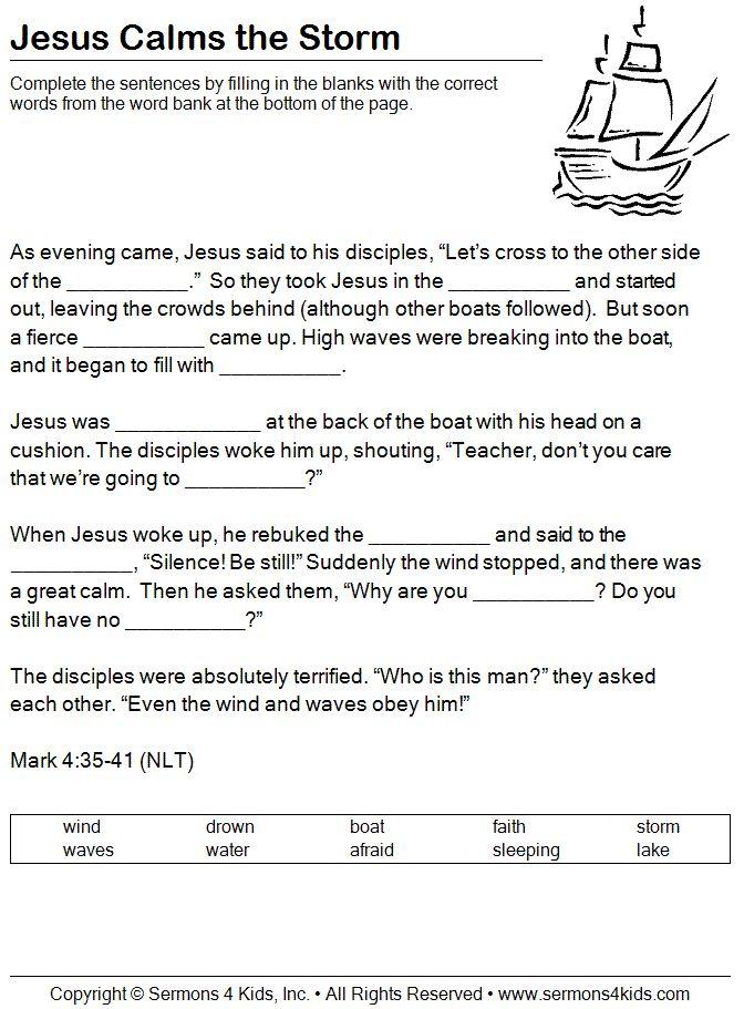 Jesus calms the storm , Mark 4, worksheet (for older kids)