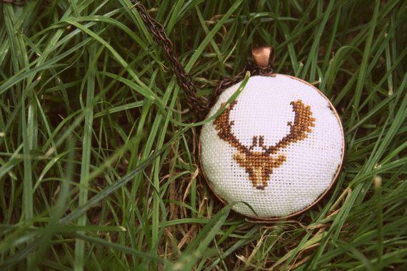 Deer Cross Stitch Necklace by ElephantBrooch on Etsy, $25.00