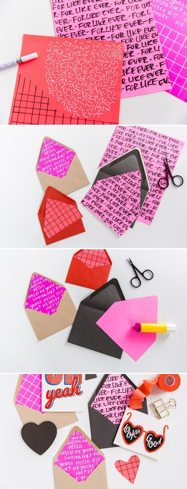 How to Make DIY Envelope Liners for Valentine's Day #paper #envelopes #valentinesday #valentine