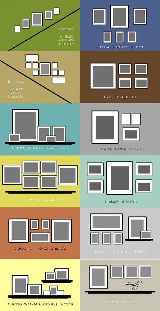 Different arrangements of frames on walls and shelves.