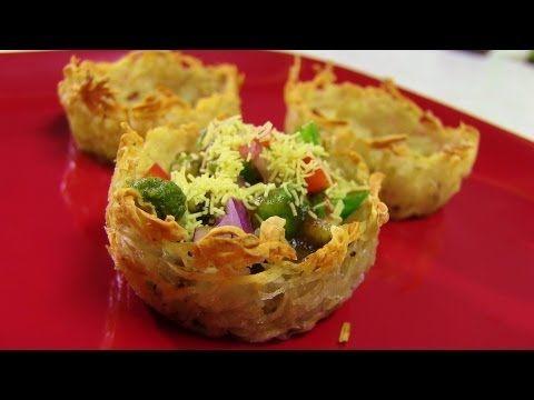 Aloo Tokri Chaat video recipe - Stuffed Potato Baskets recipe - Indian Recipes by Bhavna - YouTube