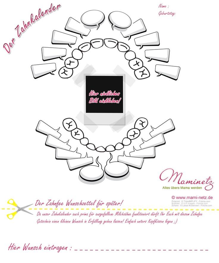 Der Mami Netz Zahn-Milchzahn-Zahnfee Wunsch Kalender! ;) Hier downloaden: http://www.mami-netz.de/zahnkalender-1033/