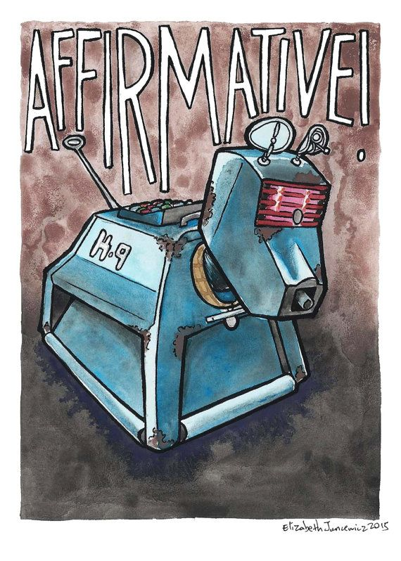 K-9 Doctor Who Watercolor Original Art by ElizabethJJancewicz