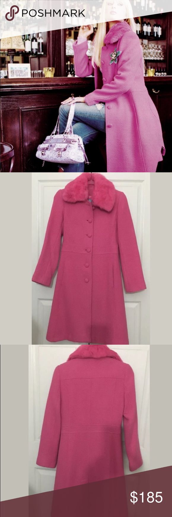NWOT Marciano Pink Wool Coat ASO Paris Hilton XS Gorgeous pink wool long coat with pink fur neck trim. Same exact one seen on the ad Paris Hilton is shown wearing. This coat is brand new without tags size is XS. Marciano Jackets & Coats