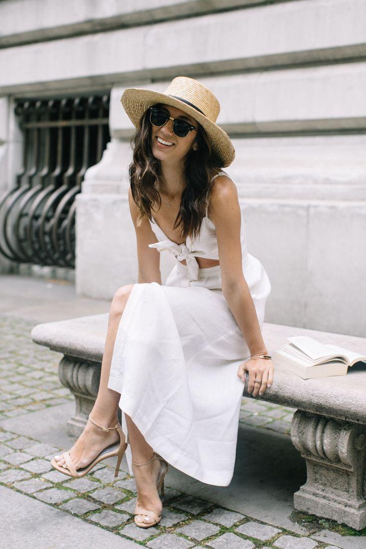 Straw boater hat + white sundress.