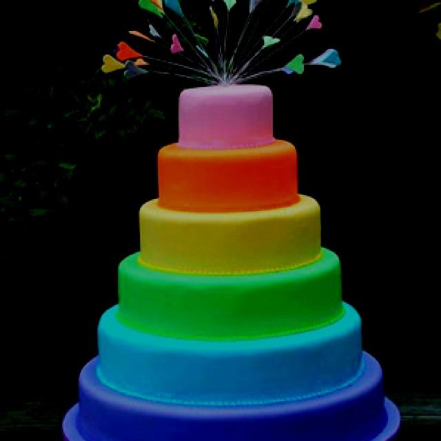 Glow in the dark layered cake