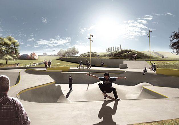 Pistas de skate que agem como contenção contra inundações
