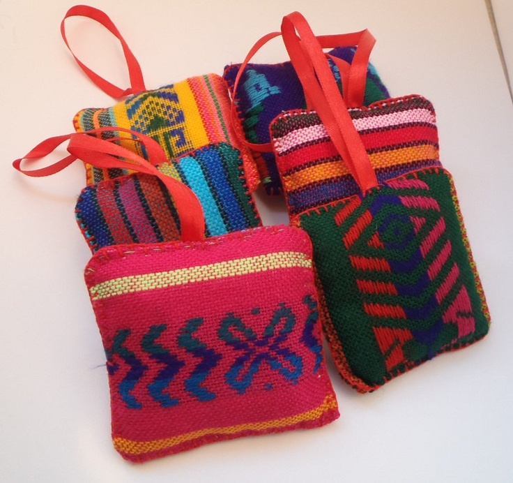 Hanging Ornaments - Mexican Fabric - Christmas Decorations - Set of Six - Home Mexican Decor MADE TO ORDER. $30.00, via Etsy.