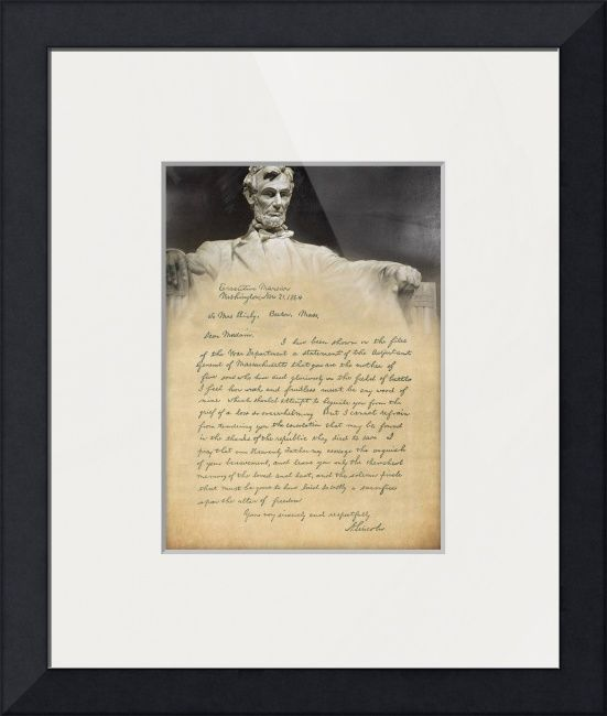 """Bixby Letter"" from Abraham Lincoln.  Read in Saving Private Ryan"