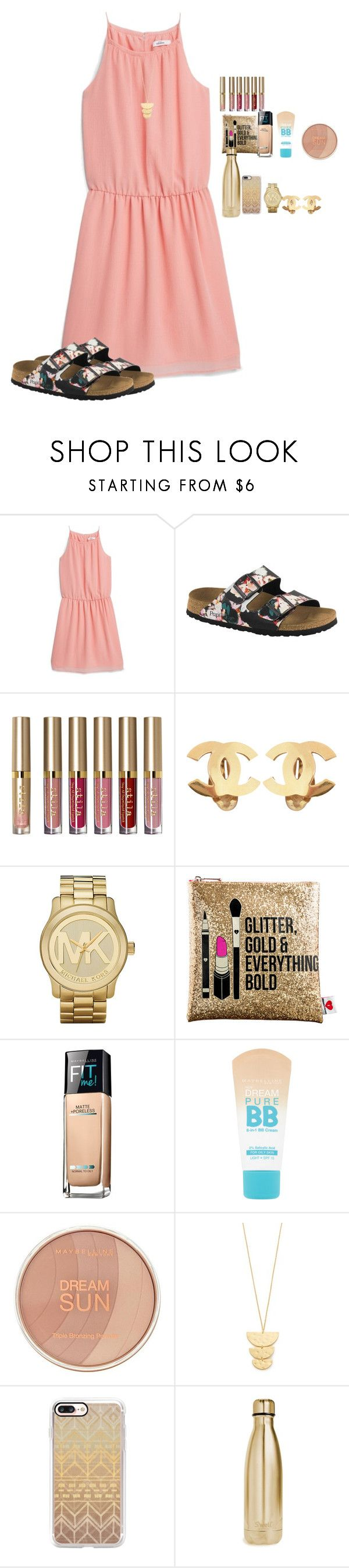 """""""I fell in love with these Birkenstocks!!!!!"""" by amaya-leigh ❤ liked on Polyvore featuring MANGO, Birkenstock, Stila, Chanel, Michael Kors, Sephora Collection, Maybelline, Gorjana, Casetify and S'well"""