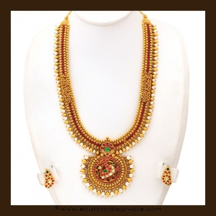Gold Antique Long Necklace Set From VBJ