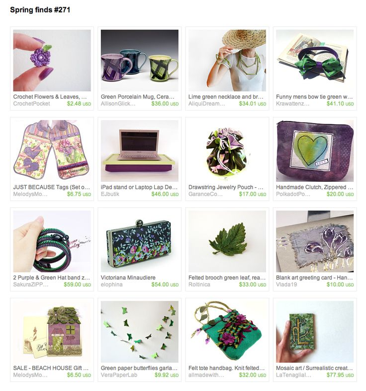 a wonderful collection of gifts in soft green and purple, perfect for spring