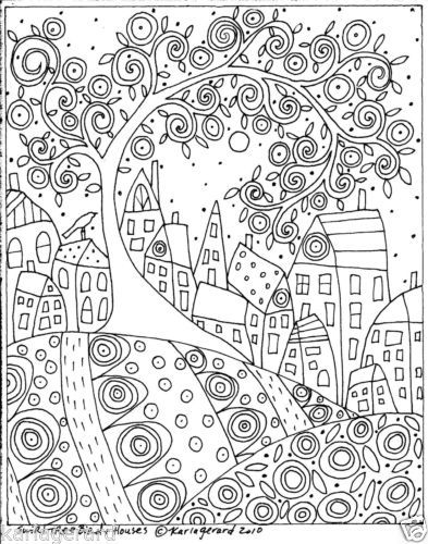 Abstract Tree Coloring Pages : Rug hook craft paper pattern swirl tree bird and houses