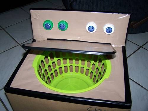 DIY cardboard box washing machine for dramatic play. I would probably make