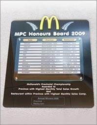Custom honours board plaque