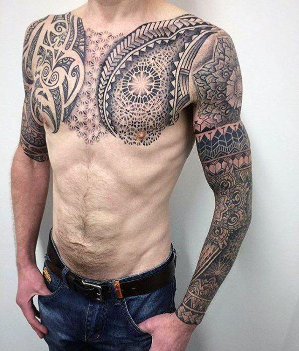 60 Geometric Chest Tattoos For Men Upper Body Design Ideas In 2020 Chest Tattoo Men Geometric Chest Tattoos For Guys