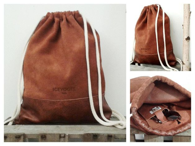 Lederbeutel mit weißen Trägern, Turnbeutel als Geschenk für Ihn, Rucksack zum Zuziehen / Leather bag with white straps, totebag as a present for him by icevogel via DaWanda.com