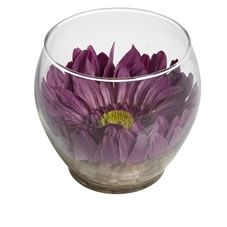 Wilko Purple Gerbera In Glass Bowl