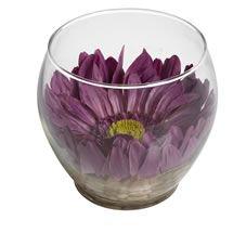 Wilko Purple Gerbera In Glass Bowl