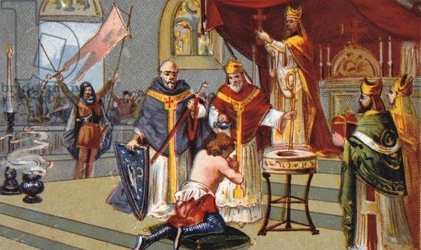Establishment of the Normans in France. Baptism of Rollo at Rouen in 911. Rollo (c870-c932, Robert after conversion to Christianity) Viking warrior and first Duke of Normandy. France Nineteenth century Trade Card Chromolithograph'