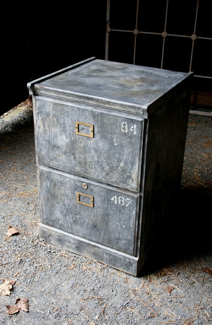 Wooden filing cabinet with faux galvanised paint finish.