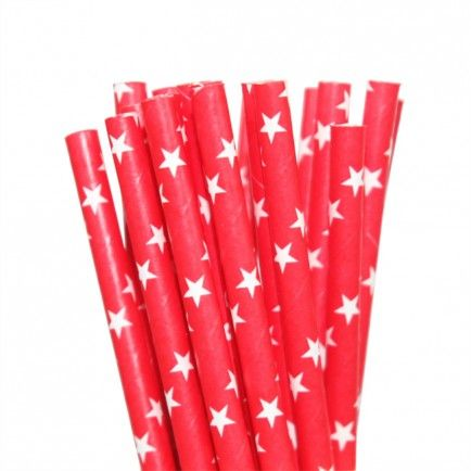 25 Red With White Star Paper Straws -  Included in our Standard $99.00 and Deluxe $159 packs  - Strawberry-fizz.com.au