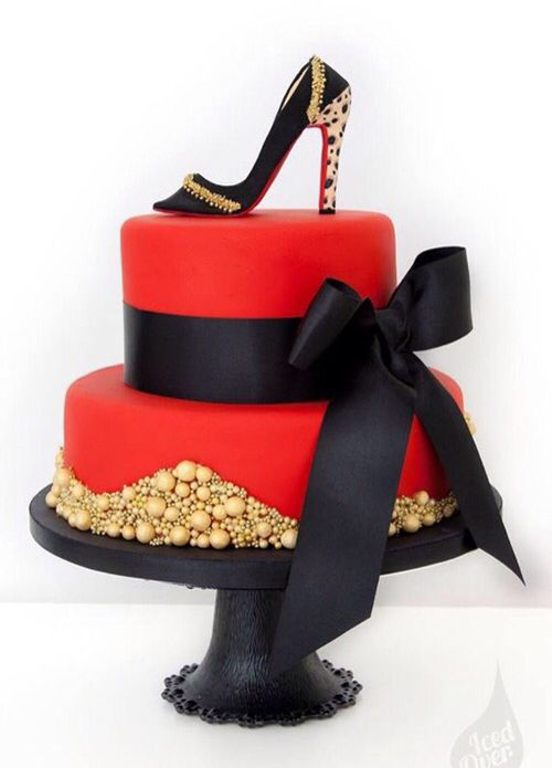 Two Layer Cake in Red With Gold Accents, High Heel Shoe and Black Bow