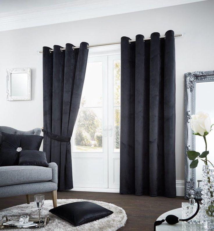 Riviara Lined Eyelet Curtains   Black – Linens Range