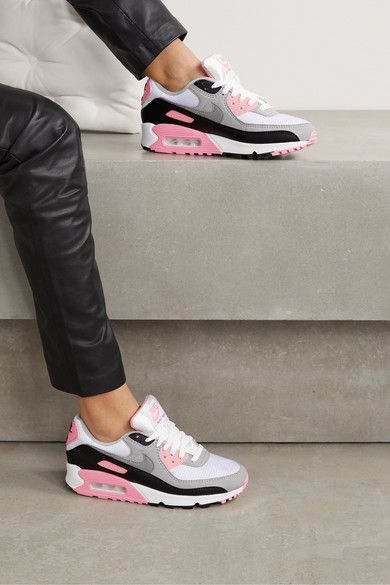 Nike Air Max 90 Suede, Mesh And Leather Sneakers - Gray | Nike air ...