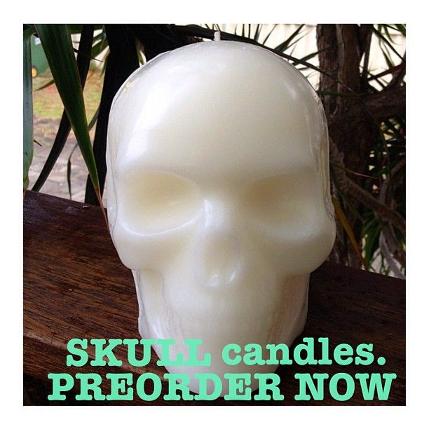 NEW! Life size Skull Head Candles fragranced with Vanilla. Available in Black or White with single wick. Burning time of approx 30  hours. $44.95. Taking preorders now! Email madisonandmontana@mail.com #Padgram