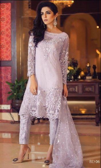 Shirt:  Fabric: Embroidered Shirt with Sleeves   Shalwar/Trouser:  Fabric: Printed Trouser  Dupatta:  Fabric: Net Dupatta