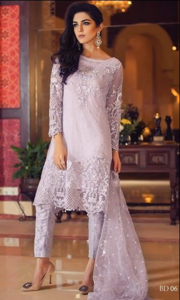 Shirt: Fabric: Embroidered Shirt with Sleeves Shalwar/Trouser: Fabric: Printed Trouser Dupatta: Fabric: Net Dupatta