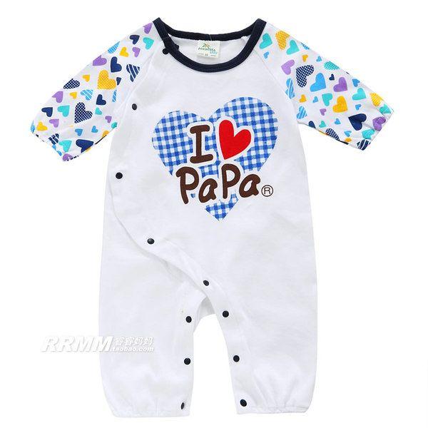 Я люблю мои родители ребенка комбинезон весна и осень мужские и женские ребенка ползунки с длинным рукавом хлопка одежды новорожденных одежда полная луна
