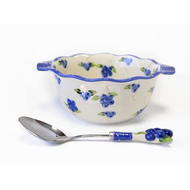 temp-tations® by Tara: temp-tations® Blueberry Buckle 4-qt. Mixing Bowl with Figural Spoon