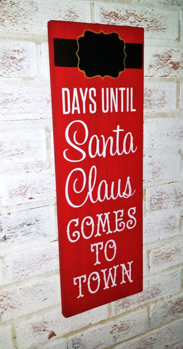 Advent Calendar, Days until Santa Claus comes to town sign, Chalkboard sign, Christmas advent calender, Chalk Board Christmas signs